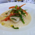 Red Curry Poached Scallops with Coriander, Sweet Corn, Snake Beans & Fennel